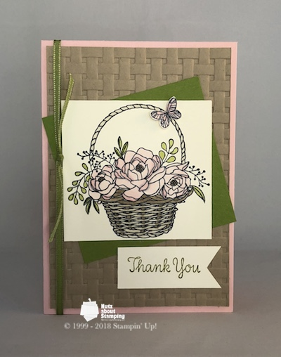 Blossoming Basket with ribbon